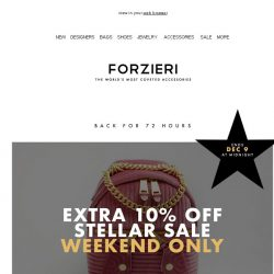 [Forzieri] Weekend-only | Extra 10% SALE is back