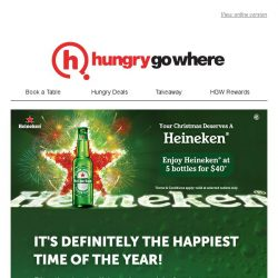 [HungryGoWhere] Toast to the Festive Season with 5 Heineken bottles for $40 and more!