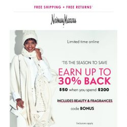 [Neiman Marcus] Up to 30% back could be yours!