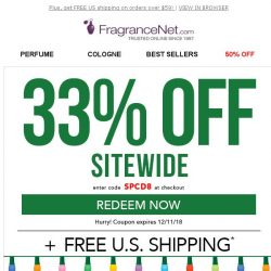 [FragranceNet] Clearance: up to 80% OFF + a special 33% OFF coupon inside!