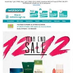 [Watsons] 12.12 Year End SALE 🔥🔥! Up to 61%, Buy 1  get 2 FREE & Sitewide $32 Off!