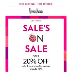 [Neiman Marcus] Extra 20% off ends tonight