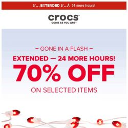 [Crocs Singapore] 【EXTENDED】 12.12 70% OFF for one more day!