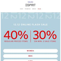 [Esprit] 12.12 Online Flash Sale - 40% off !