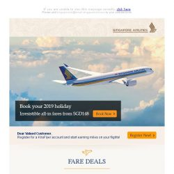 [Singapore Airlines] Last chance to enjoy special fares from SGD148