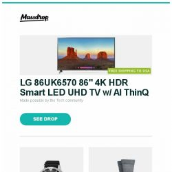 """[Massdrop] LG 86UK6570 86"""" 4K HDR Smart LED UHD TV w/ AI ThinQ, Citizen Eco-Drive Promaster Solar Dive Watch, Darn Tough Lifestyle Socks (2-Pack) and more..."""