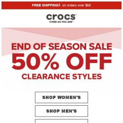 [Crocs Singapore] 💎2018 Ends of Season Sale starts NOW! Up to 50% Off‼