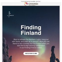 [Changi Airport] Find the codes to win a holiday for 4 to Finland!