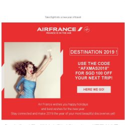 [AIRFRANCE] ❄ SGD 100 off to start the new year!