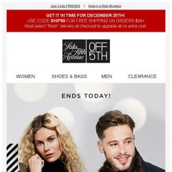 [Saks OFF 5th] Friends & Family: Extra 50% off ENDS today-get gifting!