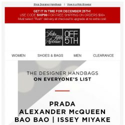 [Saks OFF 5th] Wait, WHAT?! Up to 40% off Prada, Alexander McQueen, the list goes on...