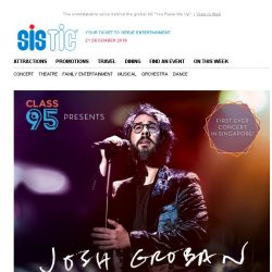 [SISTIC] Josh Groban's first ever concert in Singapore – Tickets on sale now!
