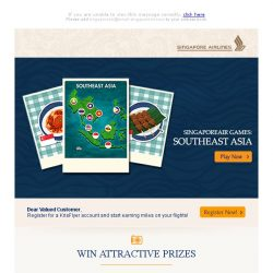 [Singapore Airlines] SingaporeAir Games: Bringing you to Southeast Asia