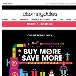 [Bloomingdales] Today only! Take 15-25% off