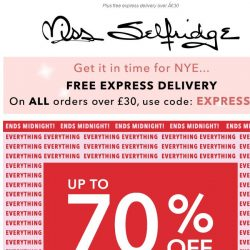 [Miss Selfridge] ENDS MIDNIGHT: Up to 70% off EVERYTHING!