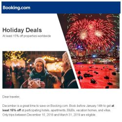 [Booking.com] Get 15% off holiday bookings