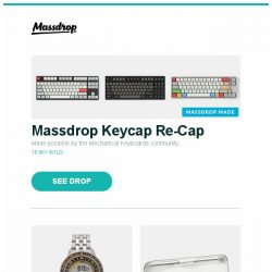 [Massdrop] Massdrop Keycap Re-Cap, Yes Equilibrium Digital Quartz Watch, Tap Strap Wearable Keyboard, Mouse & Controller and more...