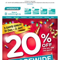 [Watsons] 🎉Kick off 2019 with 20% OFF STOREWIDE & ONLINE!