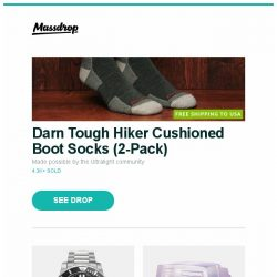[Massdrop] Darn Tough Hiker Cushioned Boot Socks (2-Pack), Audaz Reef Diver Automatic Watch, Skull Studio PC 286 Artisan Keycap and more...