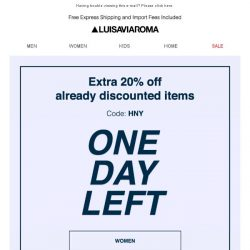 [LUISAVIAROMA] Final countdown for 20% off discounted items…