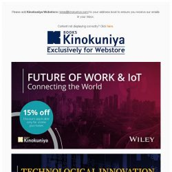 [Books Kinokuniya]  New Year, new opportunities!  Enjoy 15% off Wiley's innovation titles exclusively on Kinokuniya Webstore Singapore.  Shop NOW!