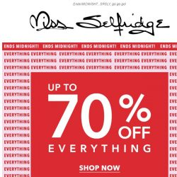 [Miss Selfridge] Happening now: Up to 70% off everything
