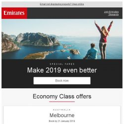 [Emirates] Where to in 2019? Explore the world from just SGD 598*
