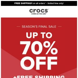[Crocs Singapore] You won't believe it—Crocs at up to 70% Off + Free Shipping‼