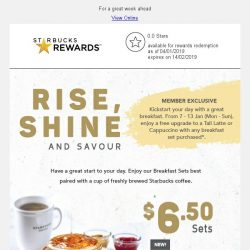 [Starbucks] Enjoy a free upgrade to Tall Latte or Cappuccino with any breakfast set purchase