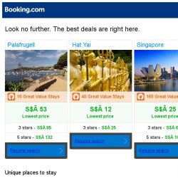 [Booking.com] Palafrugell, Hat Yai, or Singapore? Get great deals, wherever you want to go