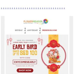 [Floweradvisor] Ready for another New Year festive? Saves up to SGD 100 for early bird CNY