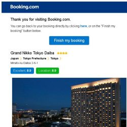 [Booking.com] Grand Nikko Tokyo Daiba – are you still interested in staying?