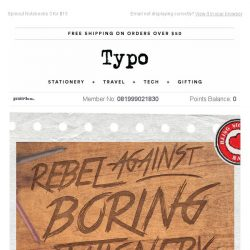 [typo] For all the rebels out there! Last chance 20% off Diaries.