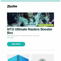 [Massdrop] MTG Ultimate Masters Booster Box, Massdrop Blue Box: ForeverSpin Metal Tops, Orient Mako XL Automatic Watch and more...