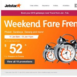 [Jetstar] ✈ Start the year with a spontaneous getaway! Frenzy fares to Bangkok and more.