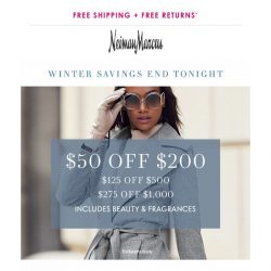[Neiman Marcus] Hours left: Get $50 off beauty & fashion!