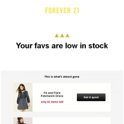 [FOREVER 21] Uh oh! Items you loved are low in stock