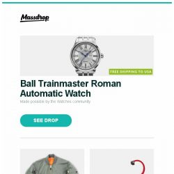 [Massdrop] Ball Trainmaster Roman Automatic Watch, Rothco MA-1 Flight Jacket, Heroclip (2-Pack) and more...