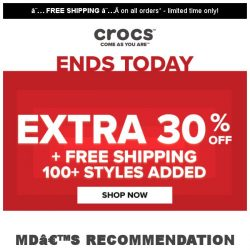 [Crocs Singapore] 【Ends Today】 Extra 30% Off on Sale Items with Free shipping‼