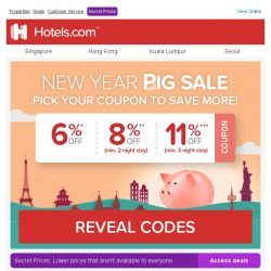 [Hotels.com] 🐷 Coupon savings of up to 11% to celebrate the Year of The Pig!