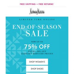 [Neiman Marcus] 75% off is ending soon...