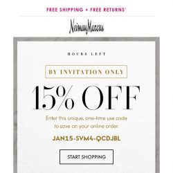 [Neiman Marcus] Final hours for your 15% off sitewide