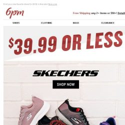 [6pm] $39.99 or Less SKECHERS, Crocs, PUMA and more!