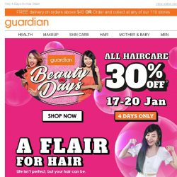 [Guardian] 💇♀ Beauty Days is back with 30% off ALL Haircare!