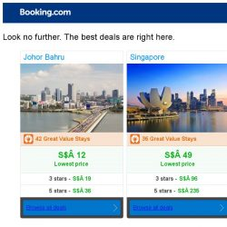 [Booking.com] Johor Bahru and Singapore – great last-minute deals from S$ 12