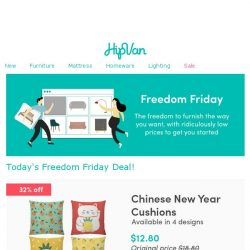 [HipVan] Our Freedom Friday deal for you: CNY cushions at just $12.80! Limited stocks only!⭐