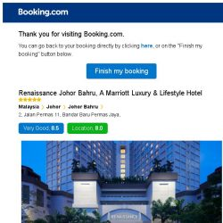 [Booking.com] Renaissance Johor Bahru, A Marriott Luxury & Lifestyle Hotel – are you still interested in staying?