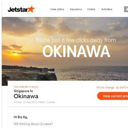 [Jetstar] Okinawa is only a few clicks away, Bq Sg!