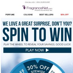 [FragranceNet] Spin to WIN - 20%, 25%, or 30% off!