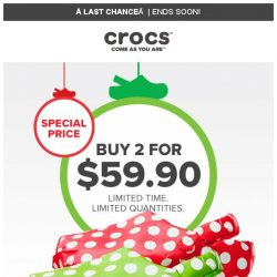 [Crocs Singapore] 【Last Chance】 Hurry! 2 Pairs for 59.90!
